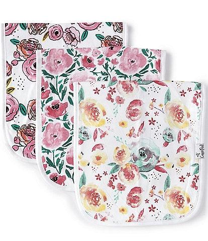 Copper Pearl Baby Girls Bloom Premium Burp Cloths 3-Pack