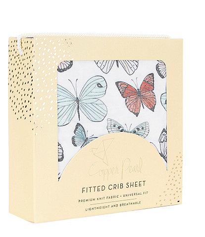 Copper Pearl Baby Girls Butterfly Premium Crib Sheet