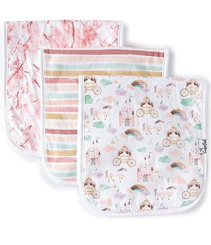 Copper Pearl Baby Girls Enchanted Premium Burp Cloths 3-Pack