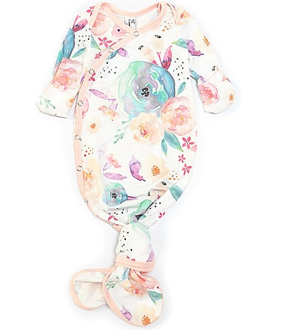 Copper Pearl Baby Girls Newborn-6 Months Long-Sleeve Bloom Floral Print Knotted Gown