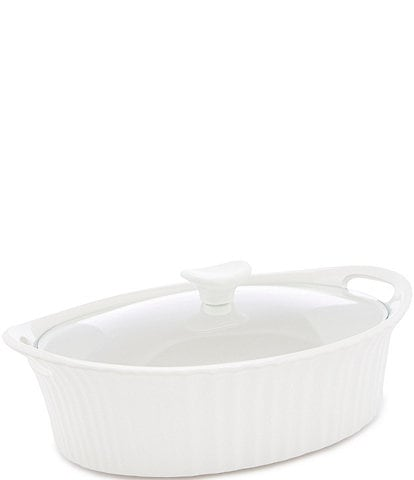 CorningWare French White 2.5-Quart Oval Casserole w/ Glass Lid
