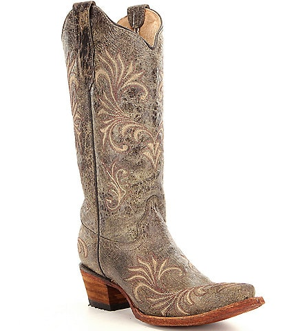 Corral Boots Distressed Filigree Block Heel Western Boots