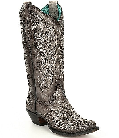 Corral Boots Leather Studded Detail Overlay Western Boots