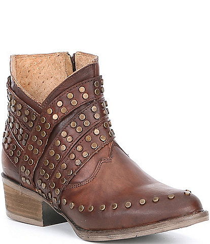 Corral Boots Stud Muffin Leather Block Heel Booties