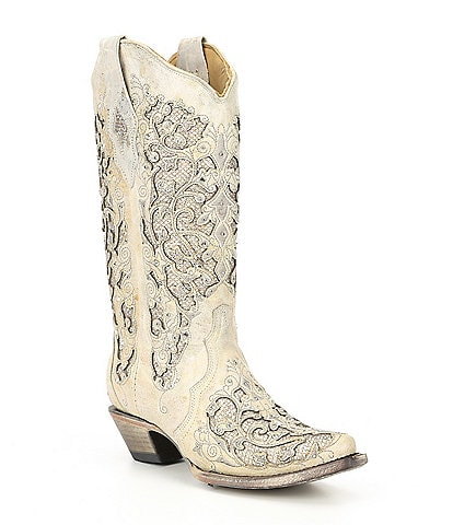 Corral Glitter Inlay & Crystal Block Heel Boots