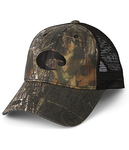 Costa Mesh Washed Twill Camouflage/Solid Trucker Hat