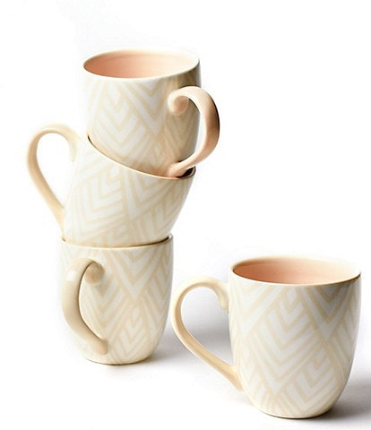 Coton Colors Blush Layered Diamond Mug Set of 4