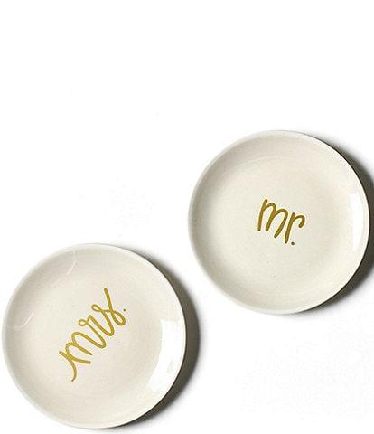 Coton Colors Ecru Mr. and Mrs. Dessert Plates, Set of 2