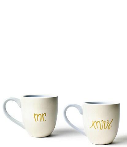 Coton Colors Ecru Mr. and Mrs. Mugs Set of 2