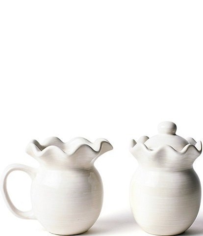 Coton Colors Signature White Ruffle Cream and Sugar Set