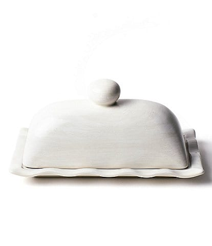 Coton Colors Signature White Ruffle Domed Butter Dish