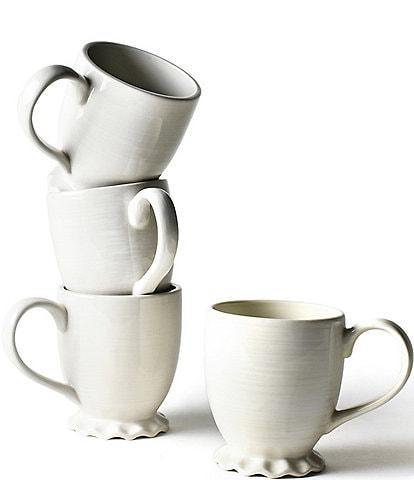 Coton Colors Signature White Ruffle Mug Set of 4
