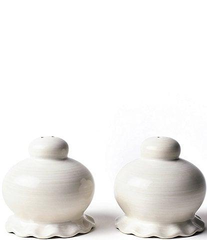 Coton Colors Signature White Ruffle Salt and Pepper Shaker Set