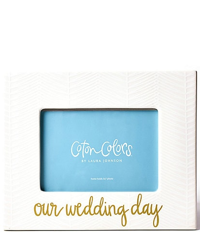 Coton Colors White Herringbone #double;Our Wedding Day#double; Frame