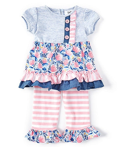 Counting Daisies Baby Girls 3-24 Months Solid/Floral Mixed-Media Dress & Striped Legging Set