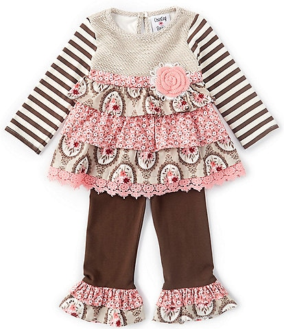 Counting Daisies Baby Girls 3-24 Months Tiered Mixed-Media Dress & Leggings Set