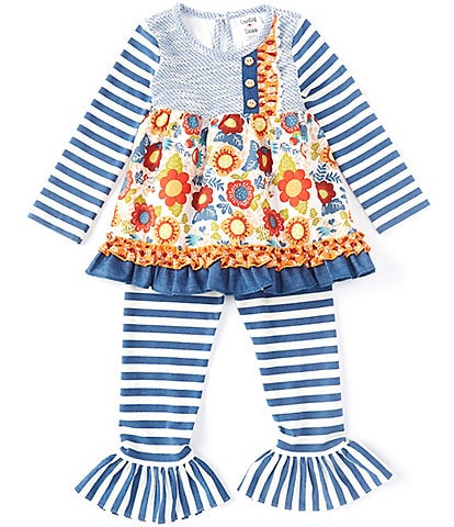 Counting Daisies Little Girls 2T-6X Mixed-Media Dress & Striped Leggings Set