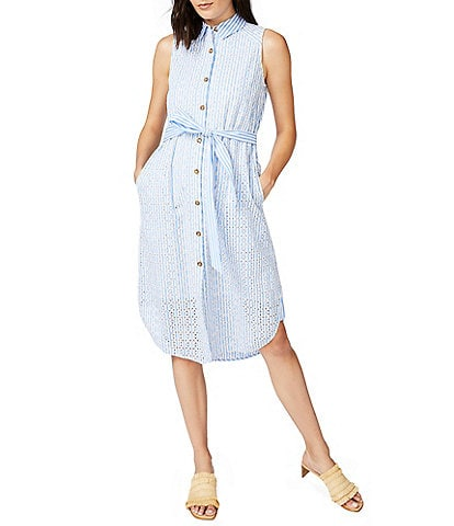 Court & Rowe Embroidered Button Front Tie Waist Sleeveless Dress