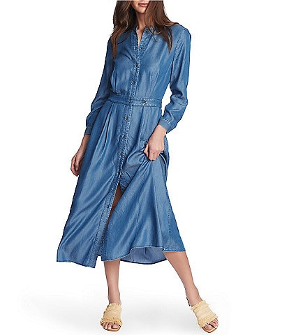 Court & Rowe Long Sleeve Chambray Button Down Midi Dress