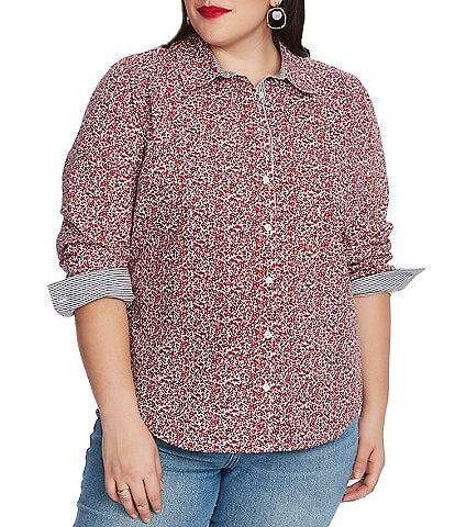 Court & Rowe Plus Size Long Sleeve Floral Button Down Shirt