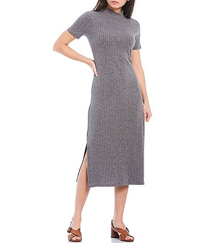 Court & Rowe Short Sleeve Ribbed Knit Midi Dress