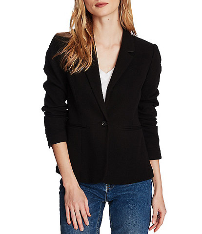 Court & Rowe Stretch Cotton Waffle 1-Button Blazer