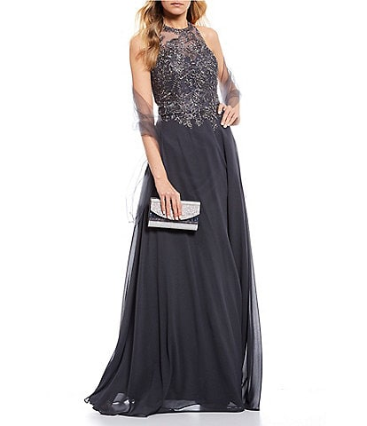 Coya Collection Mock-Neck Embroidered Beaded Bodice Chiffon Ball Gown