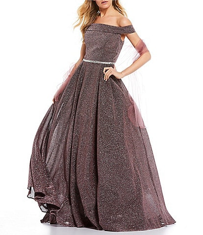 Coya Collection Off-the-Shoulder Cap-Sleeve Glitter Shine Ball Gown