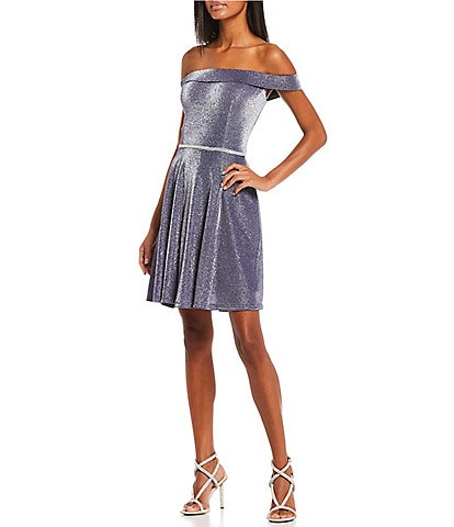Coya Collection Off-The-Shoulder Cuffed-Cap Sleeve Jeweled Waist Glitter Knit Fit-And-Flare Dress