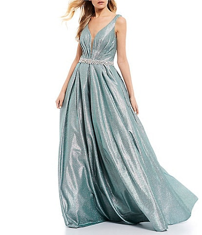 Coya Collection Plunging Neckline Glitter Metallic Ball Gown