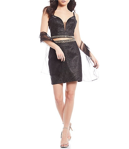 Coya Collection Shimmer Beaded Waist Two-Piece Dress