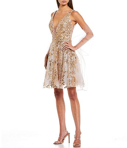 Coya Collection Sleeveless Sequin Embellished Fit-And-Flare Party Dress