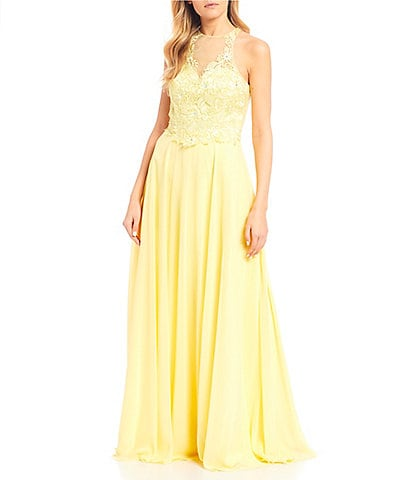 Coya Collection Sleeveless Illusion-Yoke Lace Bodice Chiffon Long Dress