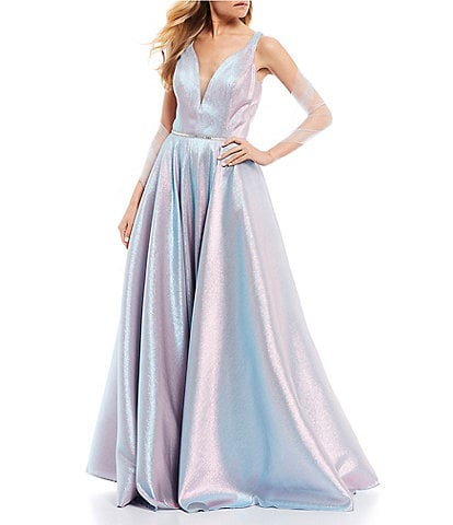 Coya Collection Sleeveless Plunging V-Neck Iridescent Shine Ball Gown