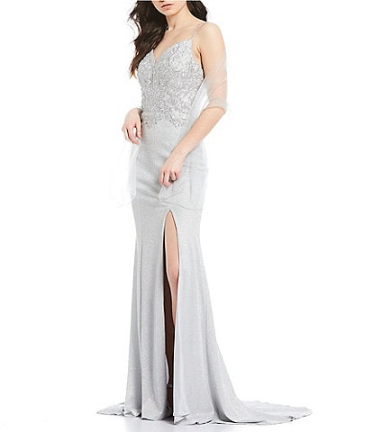 Coya Collection Spaghetti Strap High Side Slit Embroidered Beaded Shimmer Long Dress
