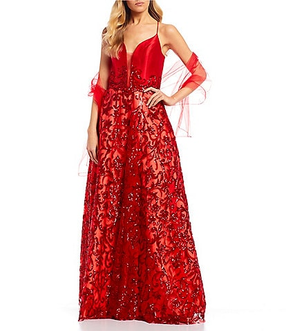 Coya Collection Spaghetti Strap Plunge V-Neck Lace-Up Back Embroidered Floral Sequin Ball Gown