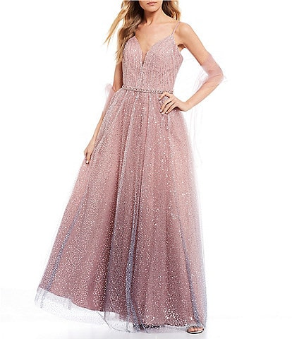 Coya Collection Spaghetti Strap V-Neck Sequin Mesh Overlay Lace-Up Back Ballgown