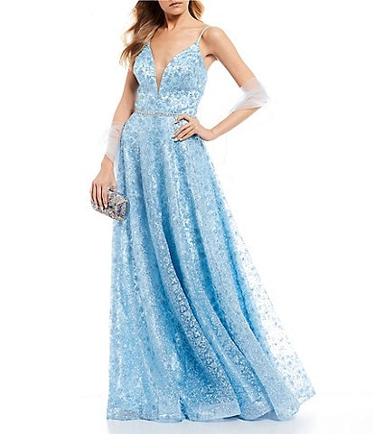 Coya Collection Spaghetti Strap V-Neck Embroidered Beaded-Waist Long Dress