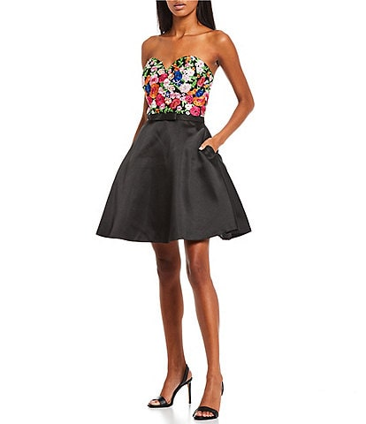Coya Collection Strapless Floral-Embroidered/Satin Fit-And-Flare Party Dress