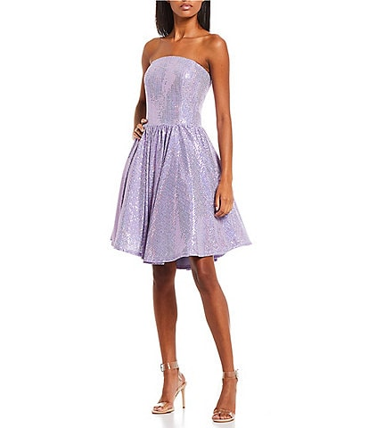 Coya Collection Strapless Disco Ball Sequin-Embellished Fit-And-Flare Dress