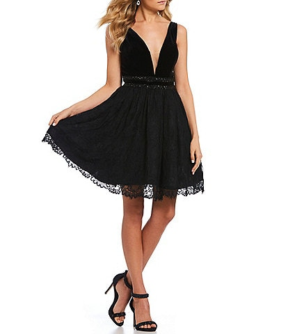Coya Collection Velvet Bodice Double Beaded Waist Fit-And-Flare Dress