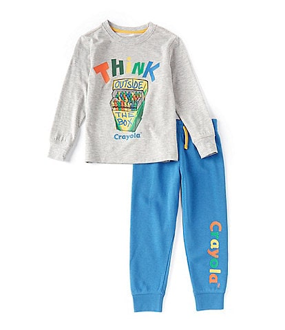 Crayola Little Boys 2T-7 Long-Sleeve Think Outside The Box Tee & Jogger Pant Set