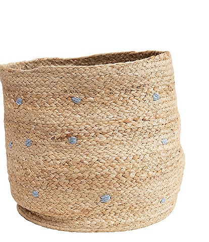 Edgehill Collection Embroidered Dots Hand-Woven Jute Basket