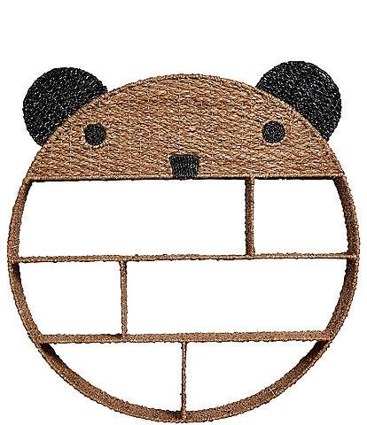 Edgehill Collection Hand-Woven Bankuan & Metal Bear Wall Shelf