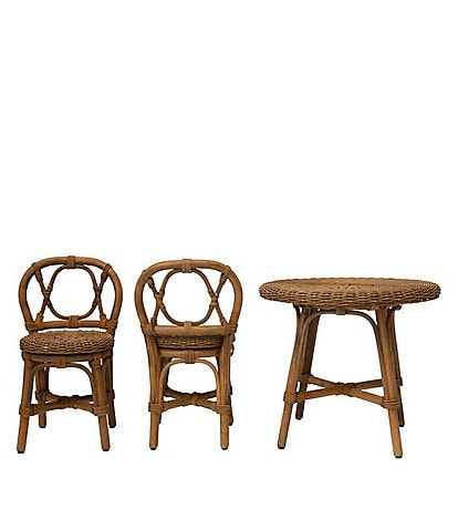 Edgehill Collection Hand-Woven Rattan Children's Table & 2 Chairs Set