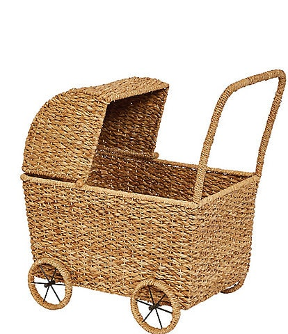 Edgehill Collection Handwoven Seagrass Doll Bassinet Stroller