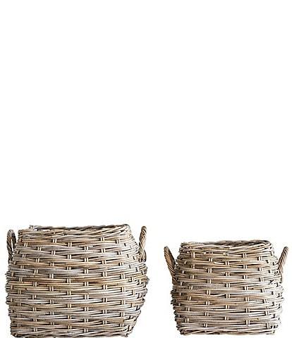 Edgehill Collection Natural Rattan Baskets - Set of 2