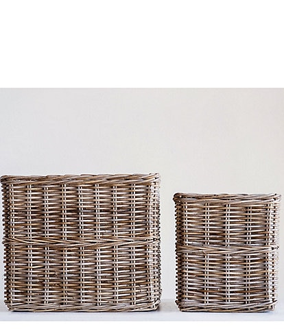 Edgehill Collection Square Rattan Baskets - Set of 2