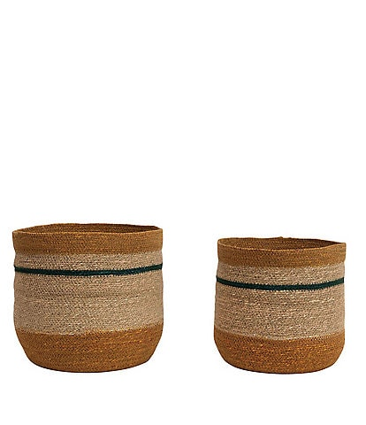 Edgehill Collection Woven Natural Seagrass Striped Baskets - Set of 2