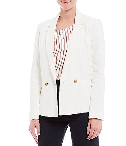 Cremieux Astrid Linen Blend Notch Lapel Long Sleeve Blazer